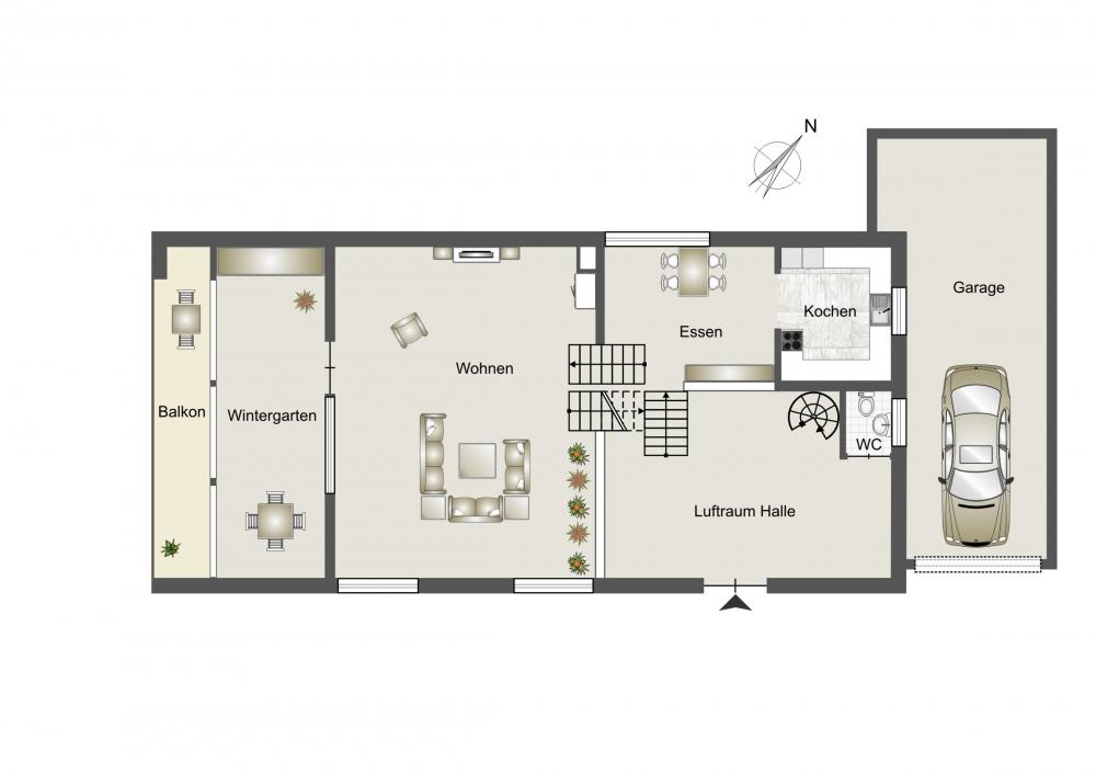 Grundriss Eingang, Kochen, Wohnzimmer
