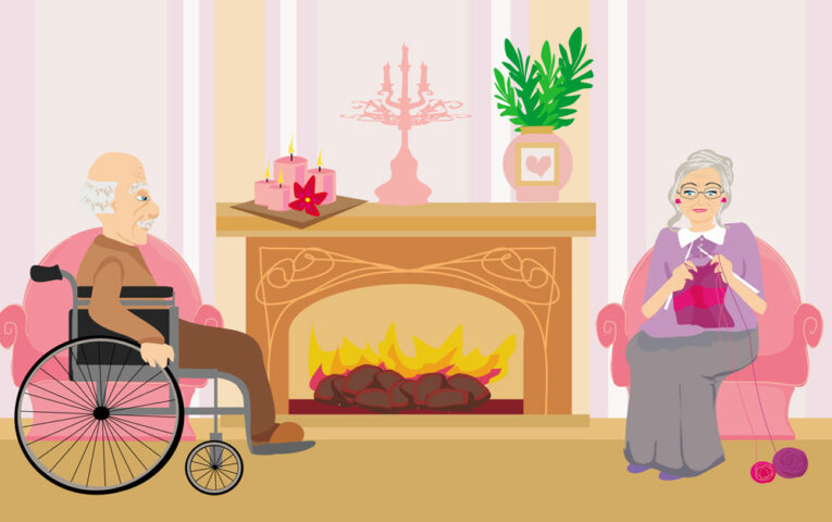 Senioren im Alter am Kamin